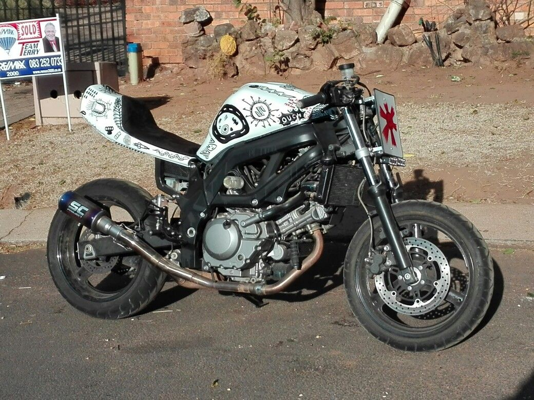 hight resolution of my custom retro suzuki sv650 done up caferacer dirt tracker street fighter style artwork done with sharpies