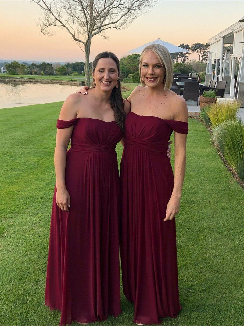 Off the Shoulder Burgundy Plus Size Maxi Long Bridesmaid Dresses