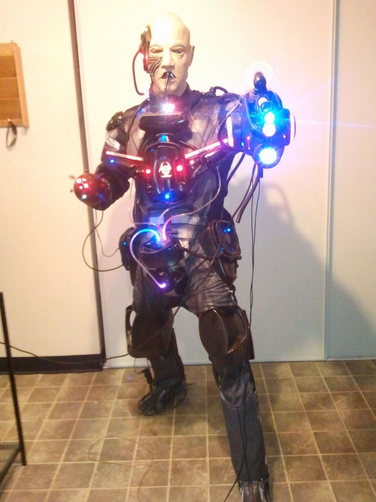 locutus of borg costume cyborg with real robotics lights and sound and 36000 mah of power - Borg Halloween Costume