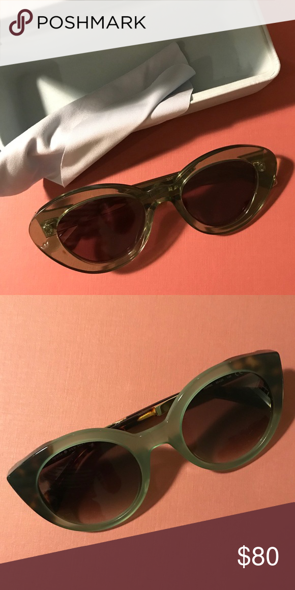 0807ecbdb7006 Madewell x Karen Walker Argentina Sunglasses Worn once. Crystal khaki color  rethink of Karen Walker s 50 s inspired cat eye sunglasses.