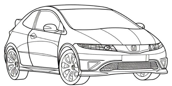 Honda Civic Type R Coloring Page Honda Civic Type R Honda Civic Civic Eg