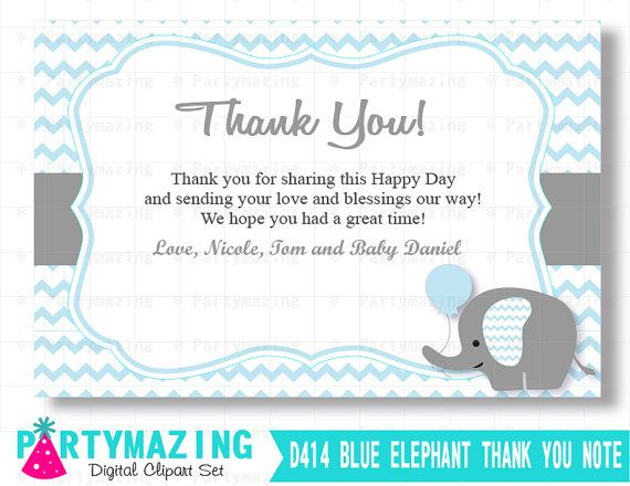 Blue Elephant Thank You Card Printable Gift Note Editable Etsy Baby Shower Thank You Cards Baby Shower Printables Printable Thank You Cards