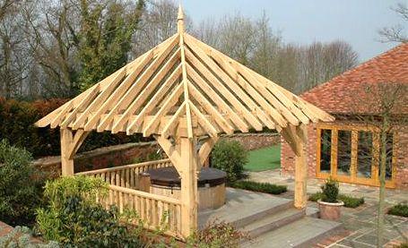 Square oak gazebo for use as hot tub shelter for Hot tub shelter plans