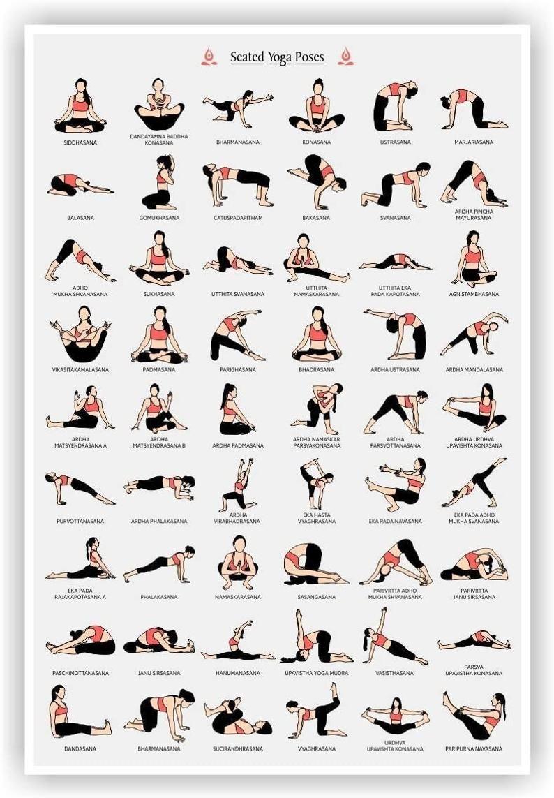 4Pixel Yoga Poster, Seated Yoga Asanas Posture Pos
