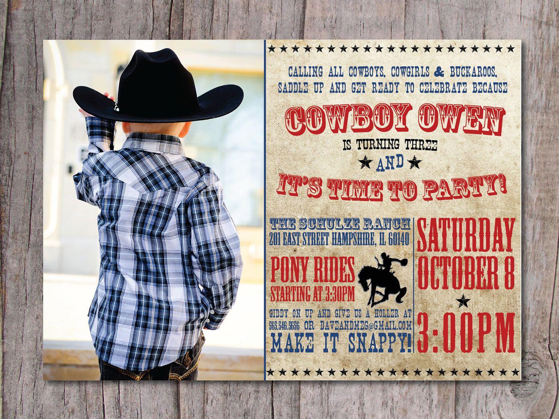 custom made western birthday party invitations | Modern Cowboy ...