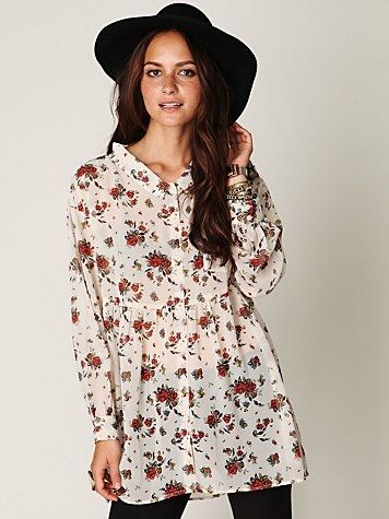 Free People Floral Sheer Button Down Tunic at Free People Clothing Boutique - StyleSays
