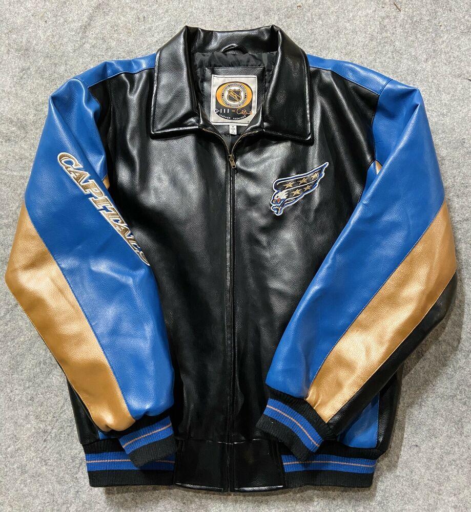 Vintage Washington Capitals Nhl Hockey Leather Jacket Medium Blue Carl Banks Carlbanks Washingtoncapitals Leather Jacket Medium Blue Jackets [ 1000 x 919 Pixel ]