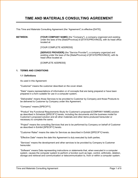 Time And Materials Consulting Agreement  Template  Sample Form