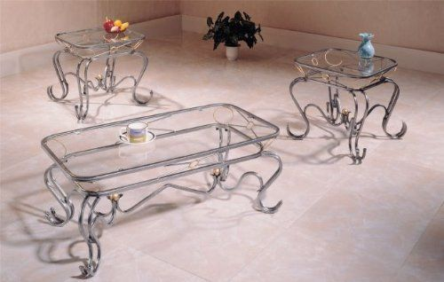 Beautiful 3 Pc 8mm Gl Coffee Two End Table Set By Cross 127 19 Wrought Iron