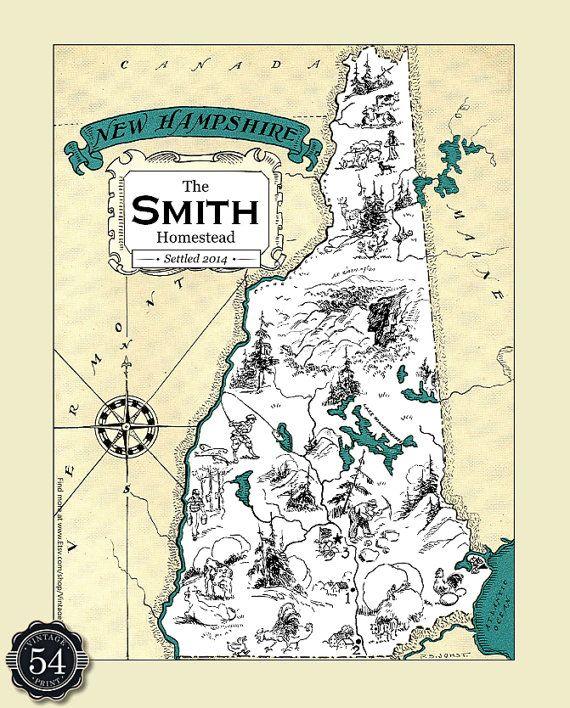 New Hampsire NH Vintage Map Custom Map Art Print Map Retro