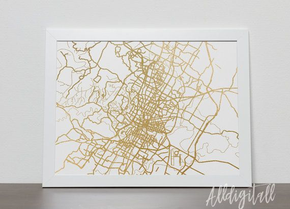 Physical Map Of Texas.Gold Foil Austin Map Printable Map Wall Art Austin Map Print