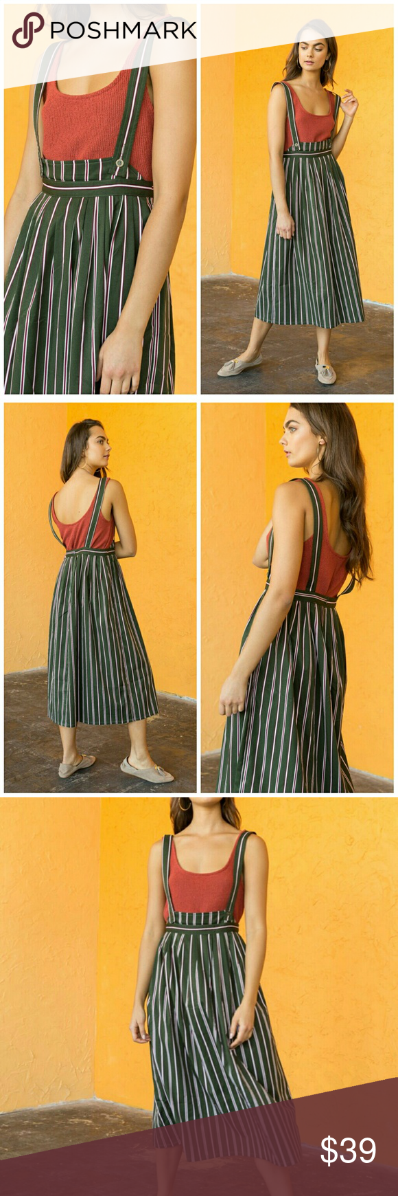 🆕Striped Midi Skirt Overall/ Suspender Skirt New from supplier with tags Does... 1