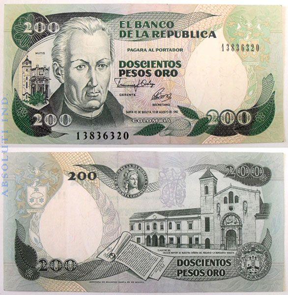 Colombia José Celestino Mutis 200 Pesos 1992