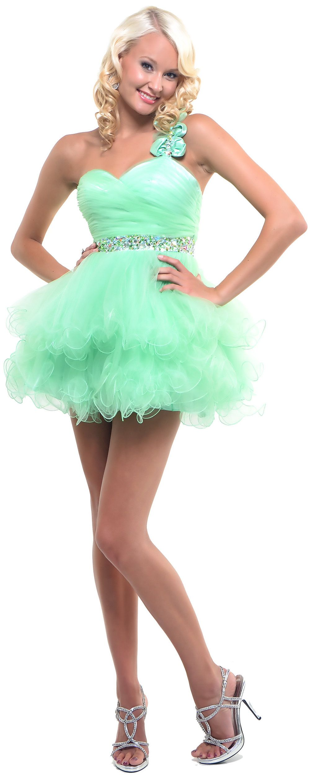 Fashion style One mint shoulder green prom dress for lady