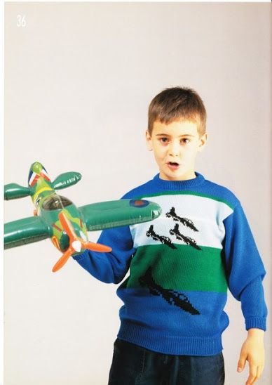 Airplane intarsia sweater
