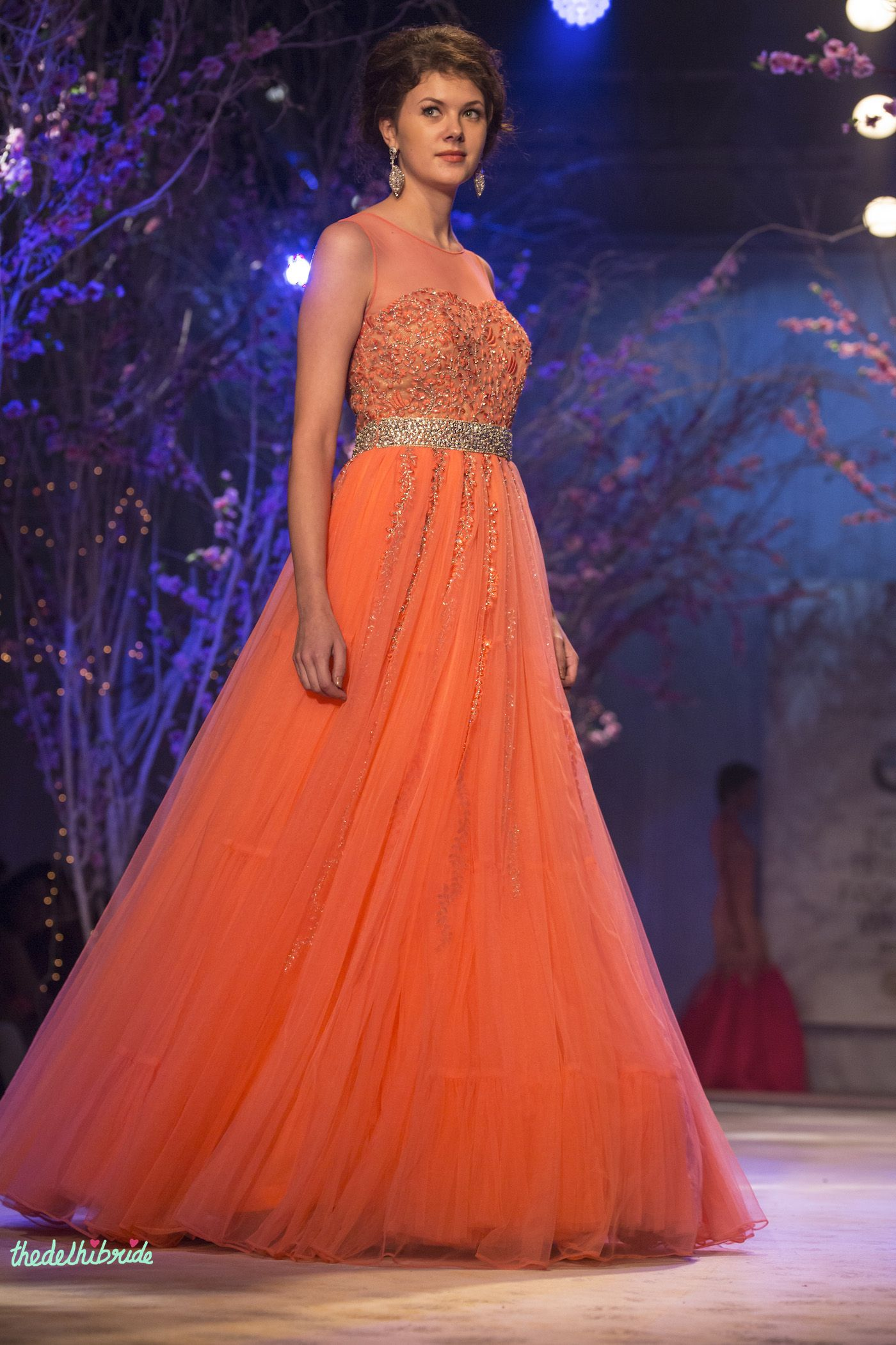 Orange gown for Indian engagement by Jyotsna Tiwari | thedelhibride ...