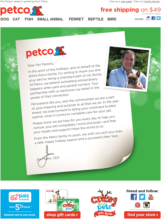 Petco  Holiday Letter From The Ceo  December  Winter Holiday