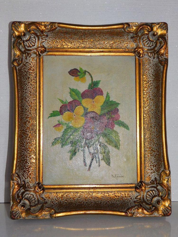 Tableau ancien huile sur toile bouquet de pensees sauvages signe therese