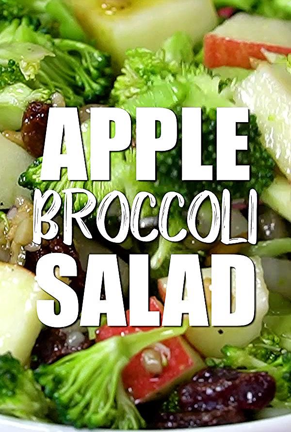 Chopped broccoli and apples mixed with nuts and raisins is the perfect vegan salad recipe.  #veganinthefreezer #salads #sides #brunch #healthy #veganrecipes
