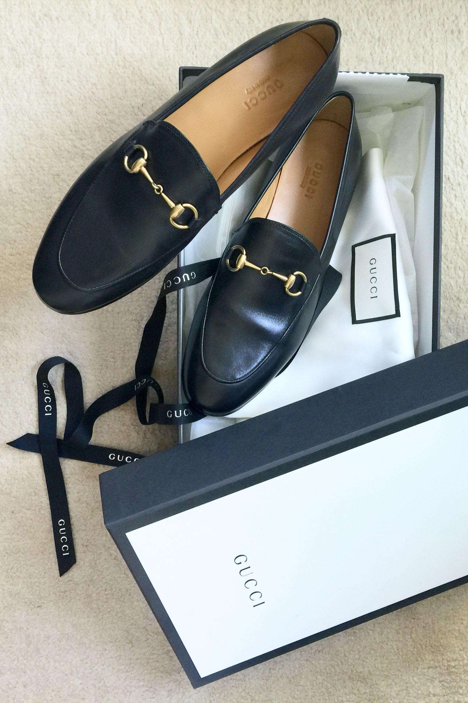 Black Gucci Jordaan moccasins. The