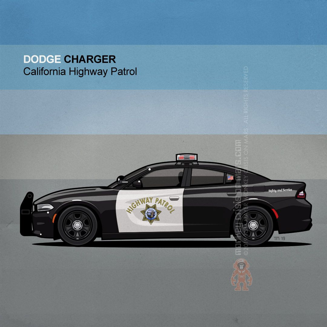 Monkeycom Shop Redbubble Police Cars California Highway Patrol Dodge Charger