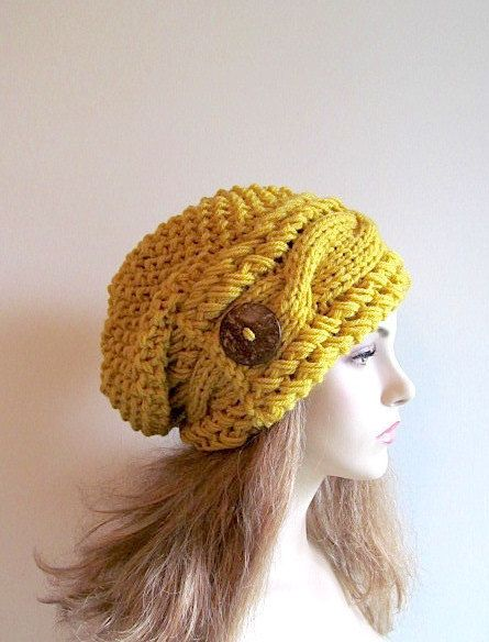 b5714e5e017 Mustard Gold Slouchy Beanie Slouch Cable Hats Oversized Baggy Yellow Beret  Button womens fall winter accessory Chunky Hand Made Knit
