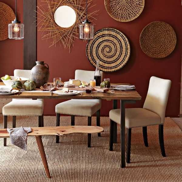 African dining room decor modern wall decoration with ethnic wicker plates bowls and baskets - Design and decorations for dining room walls ...