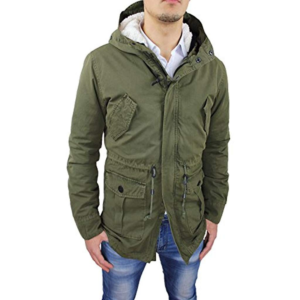low priced 76325 ecd71 Giaccone Uomo Parka Verde Militare Casual Invernale Giacca ...