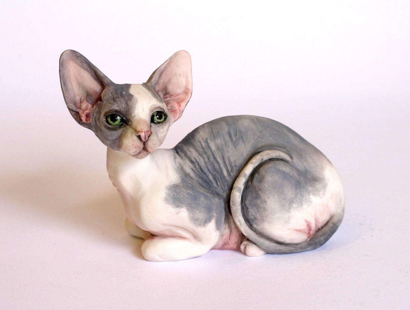 Sphynx Cat Hairless sml grey crouch chapmansculptures eBay