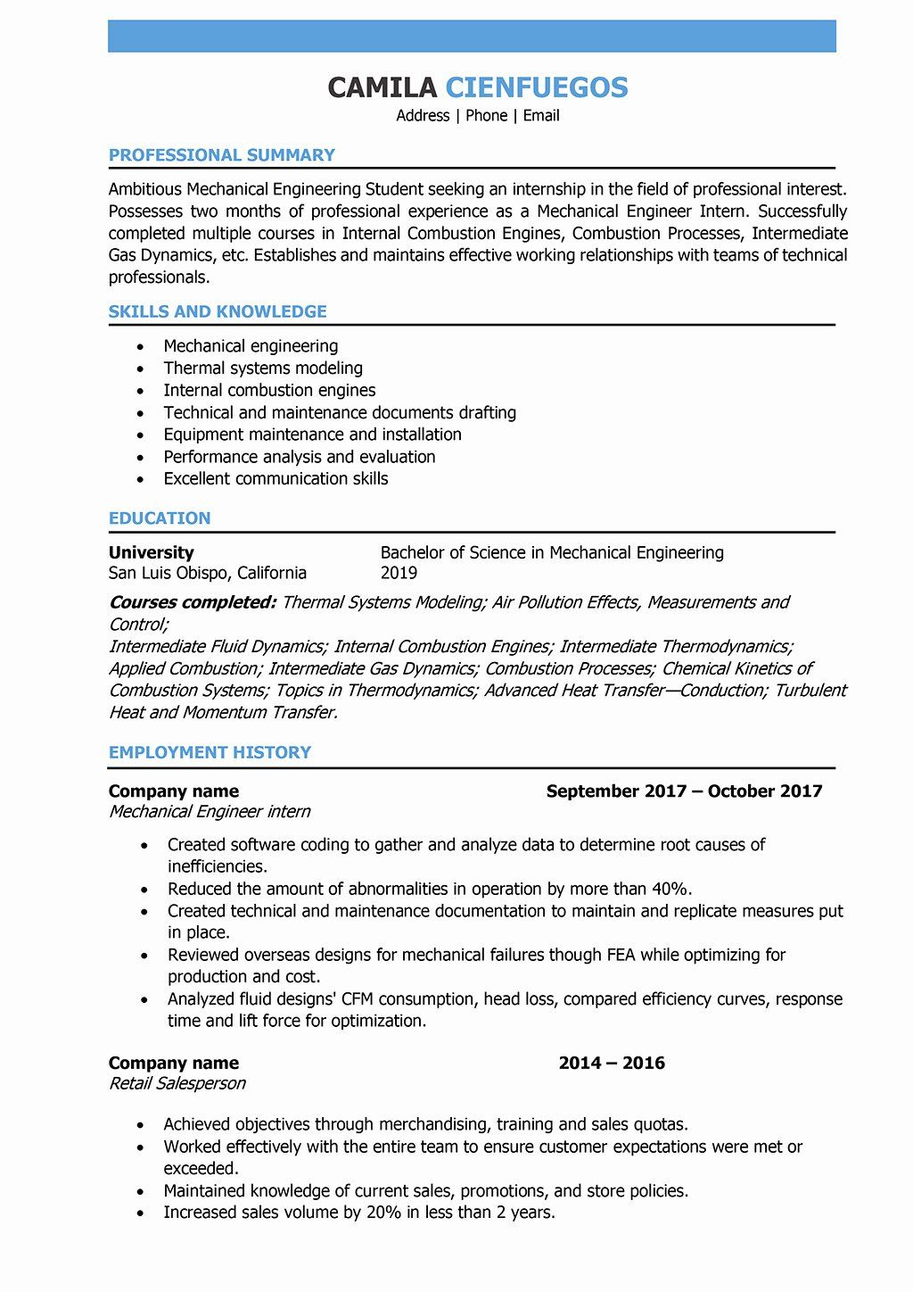 Engineering Resume Examples For Students Luxury Mechanical Engineer Resume Samples And Writin Engineering Resume Job Resume Examples Mechanical Engineer Resume