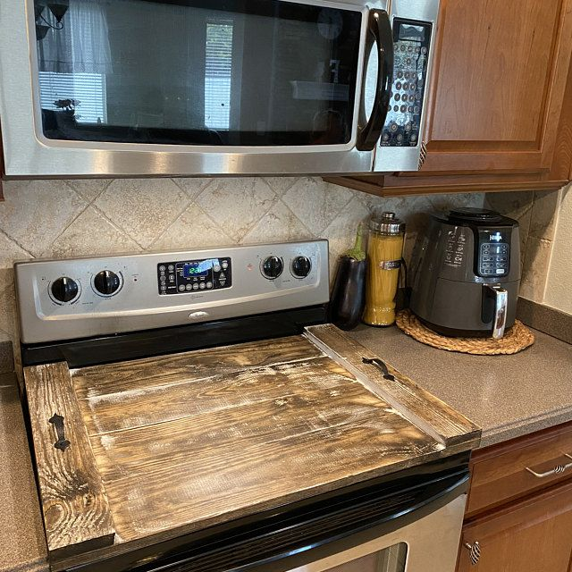 Photo of Wooden stove top cover-Stove top cover-Scrap wood-Custom stove top cover-Noodleboards-Rustic decor-C