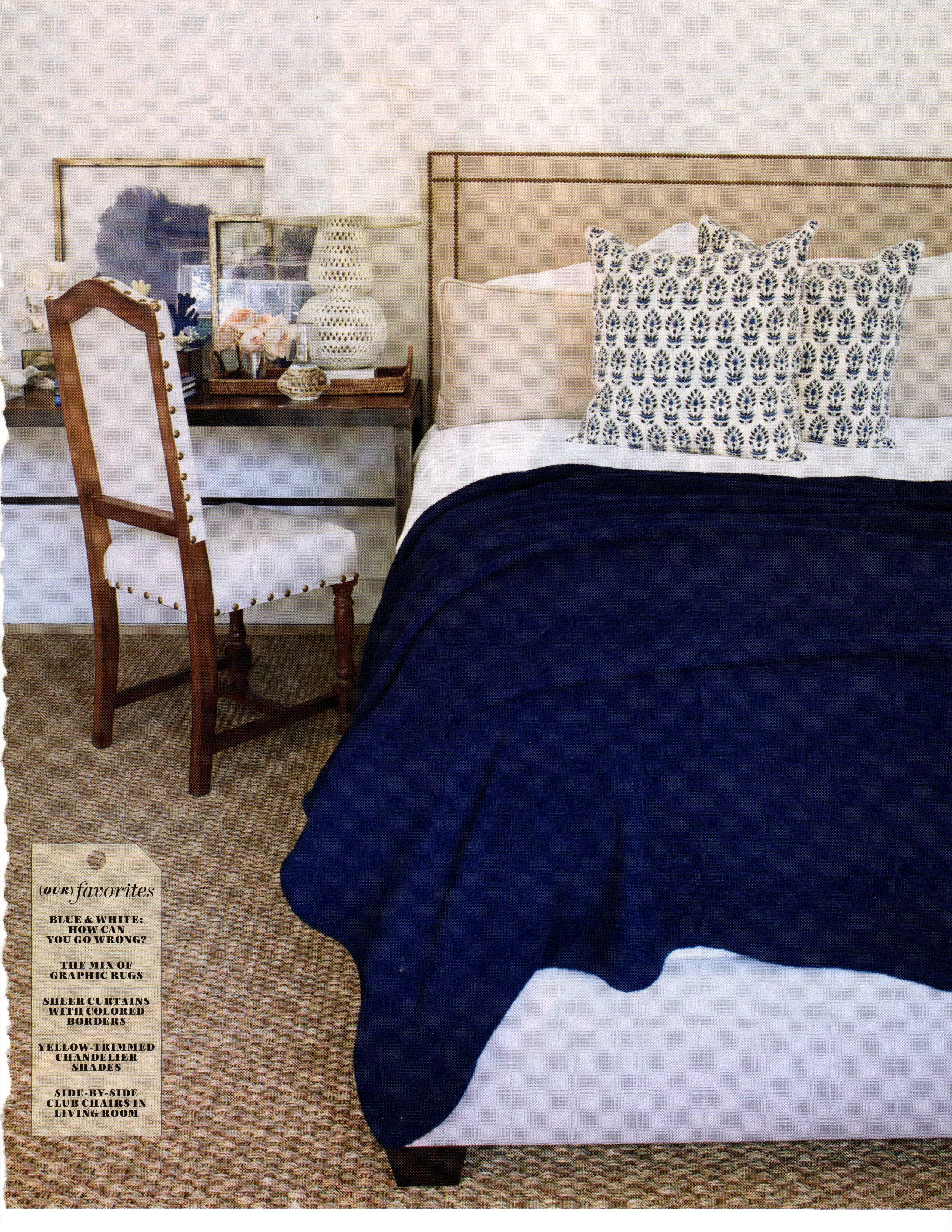 Crisp white with navy and beige   Guest bedroom ...