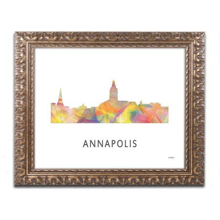 Trademark Fine Art 'Annapolis Maryland Skyline WB-1' Canvas Art by Marlene Watson, Gold Ornate Frame, Assorted
