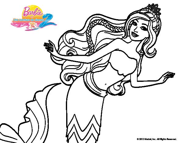 Sirena nadando | Dibujos de Barbie para colorear | Coloring pages y ...