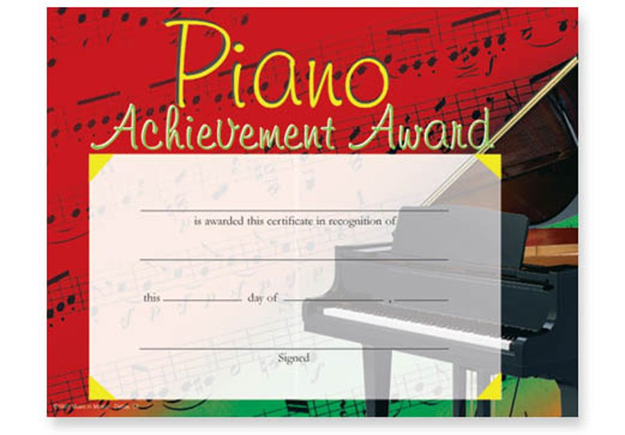 "COLORFUL PIANO AWARD CERTIFICATES PKG/25 - 11"" x 8½"". Pkg ..."