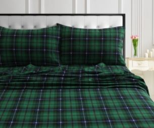 Cambridge Plaid 170 Gsm Cotton Flannel Printed Extra Deep Pocket Full Sheet Set Green With Images Tribeca Living Mattress Furniture Bed Sheet Sets