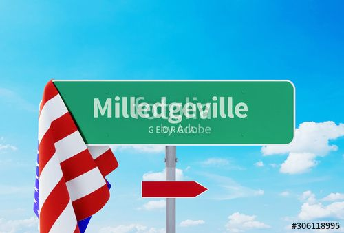 Milledgeville �20Georgia. Road or Town Sign. Flag of the united states. Blue Sky. Red arrow shows the direction in the city. 3d rendering , #ad, #Flag, #Sign, #states, #united, #Georgia #Ad