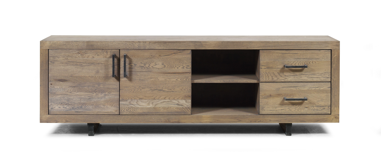 Meuble Tv Grande Taille meuble tv scandinave chêne vieilli massif 2 portes 2 tiroirs