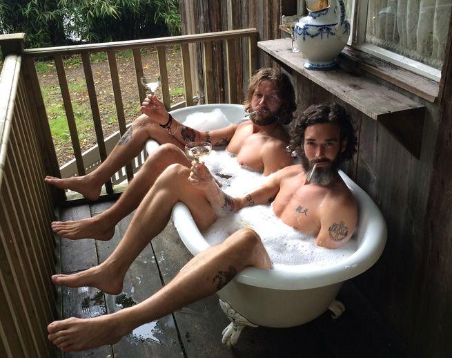 a romantic gay bubbly bathtime