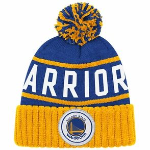 bb04e3f02f3 Golden State Warriors Mitchell   Ness High 5 Cuffed Knit Primary Logo Hat -  Royal Gold