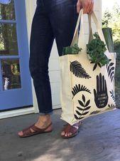 Organic Cotton Tote Bag  Canvas Market Bag Reusable Tote Bag Grocery Tote Reubag