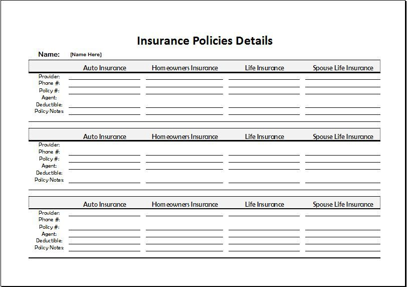 insurance policy templates  Insurance Policy Templates | 2  Printable Word