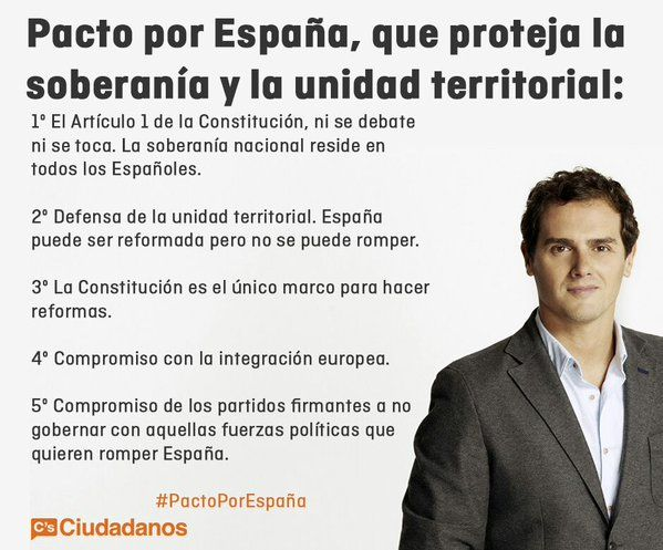 """Ciudadanos on Twitter: """"Los cinco puntos fundamentales de nuestro #PactoporEspaña que protegerá la soberanía y la unidad territorial https://t.co/gYXqr3ZwdD"""""""