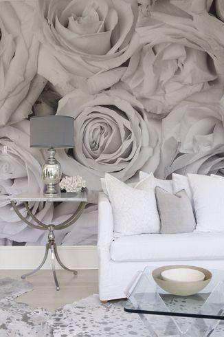 wohnzimmer #tapete #fototapete #weiss #rosen #shabby #chic ...