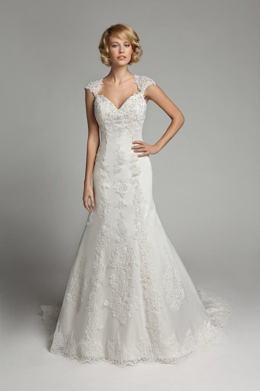 elegant cap sleeve keyhole back lace mermaid wedding dress