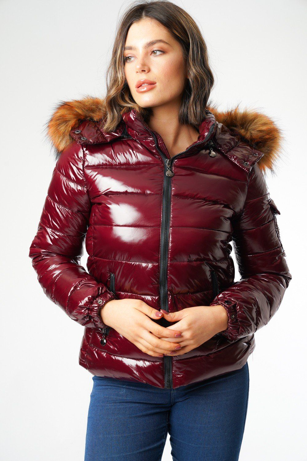 L&S Shiny Merlot Padded Puffer Coat with Detachable Faux