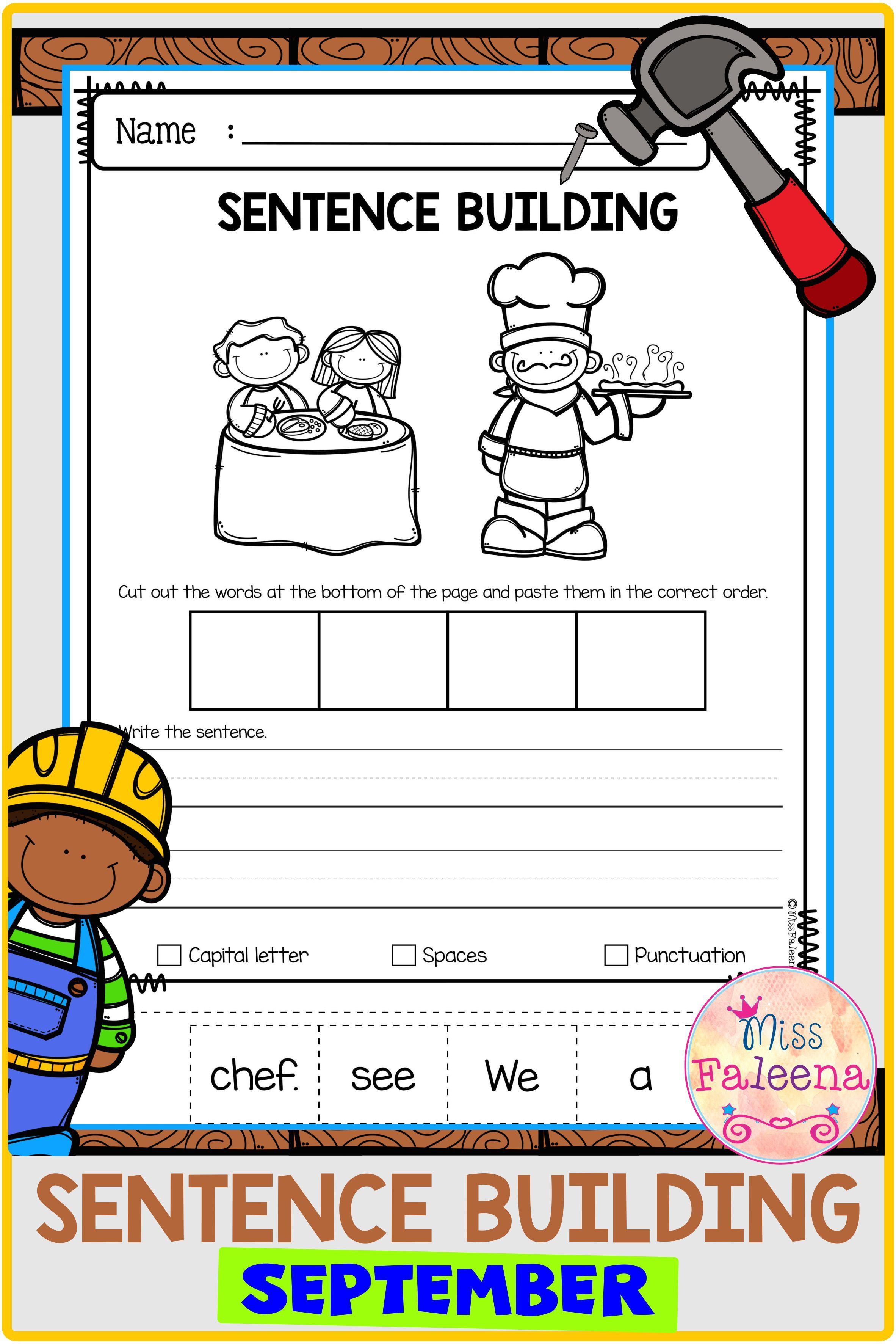 September Sentence Building First Grade Worksheets Sentence Building Worksheets Sentences [ 3544 x 2364 Pixel ]