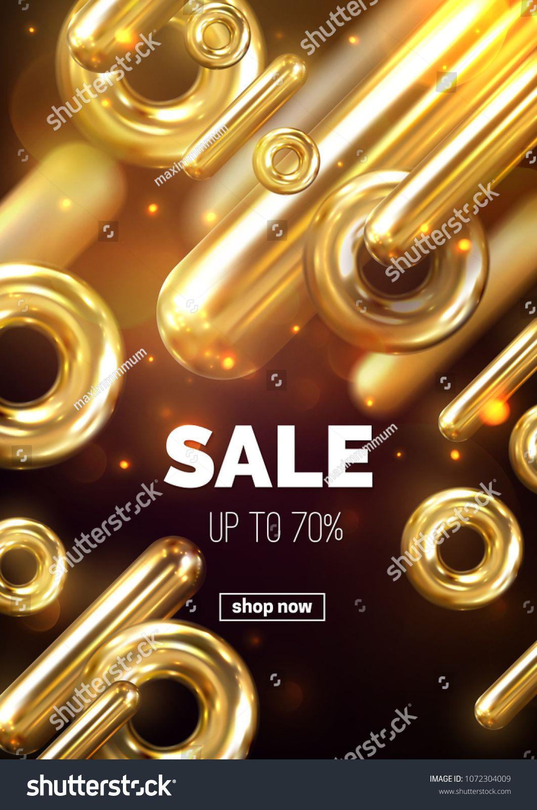 Sale banner design  Vector 3d illustration of promotional ad