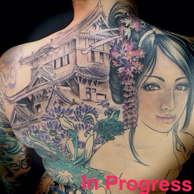 geisha and temple tattoo on back new tattoo by lucy pinterest temple tattoo and tattoo. Black Bedroom Furniture Sets. Home Design Ideas