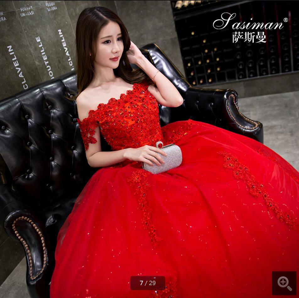 Vestidos de novia ball gown red wedding dress off the shoulder short